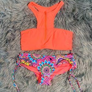 Neon Hot Pattern Ruched Sexy Bikini Set